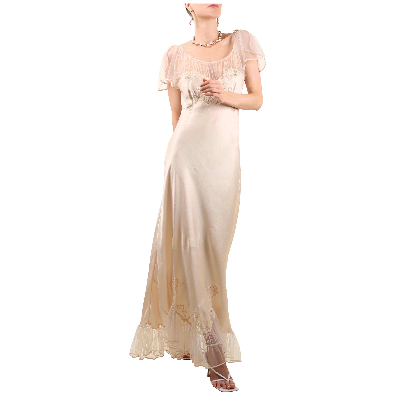 Vintage pink lace floral sheer silk ruffle nightgown robe bias maxi slip dress