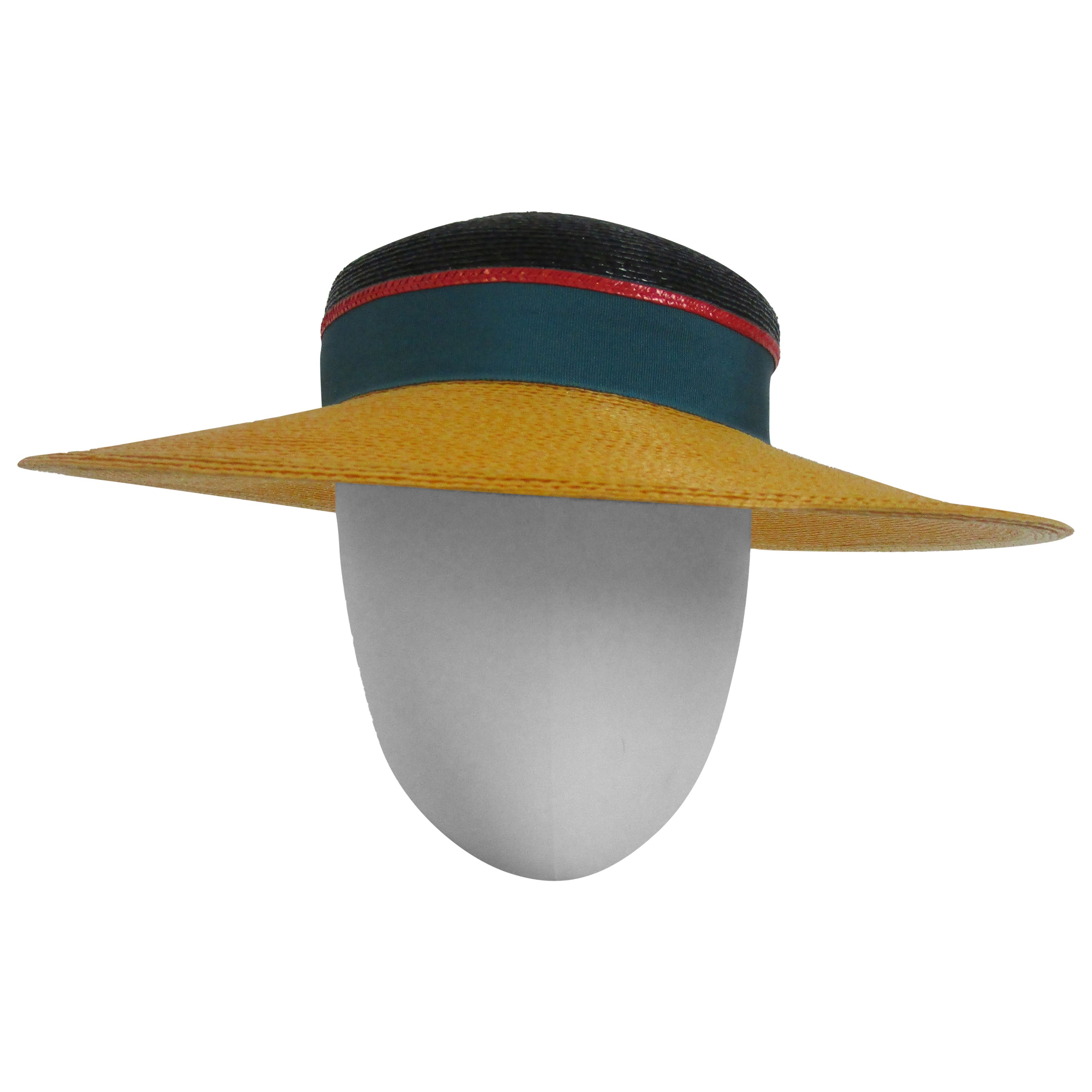 1980s Frank Olive Color Block Straw Hat with Bow