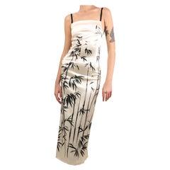 Dolce & Gabbana vintage ivory black satin midi maxi abstract print dress