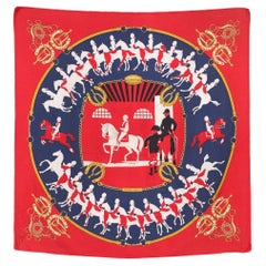 Hermes Red Manege by Philippe Ledoux Silk Scarf