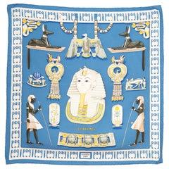 1976 Hermes Blue Tutankhamun by Vladimir Rybaltchenko Silk Scarf