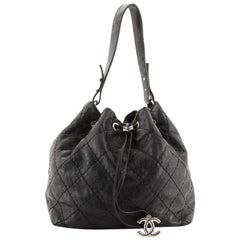 Chanel On the Road Drawstring Bucket Bag Quilted Glazed Leather