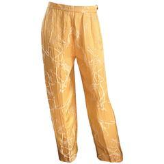 Vintage Christian Lacroix Silk Shantung Golden Yellow Oriental Wide Leg Pants