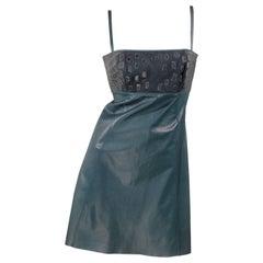 Jitrois Croco Leather Dress - green