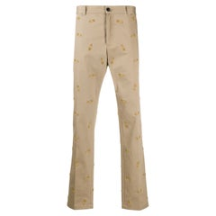 Versace Mens Safety Pin Embroidered Khaki Beige Pants / Trousers Size 50