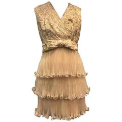 1960s Gold Lame Brocade and Nude Micro-Pleated Organza Cocktail Dress