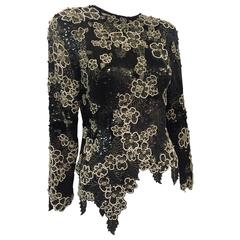 1980s Riazee Black and White Sequin Beaded Floral Silk Tunic