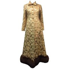 1960s Saks Fifth Avenue Gold Lame Matelasse Evening Coat w/ Fox Hem