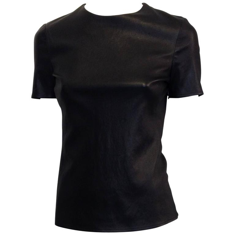 Celine Black Leather T-Shirt For Sale