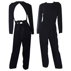 Rare Vintage Geoffrey Beene ' Open Back ' Black Long Sleeve Jumpsuit Onesie