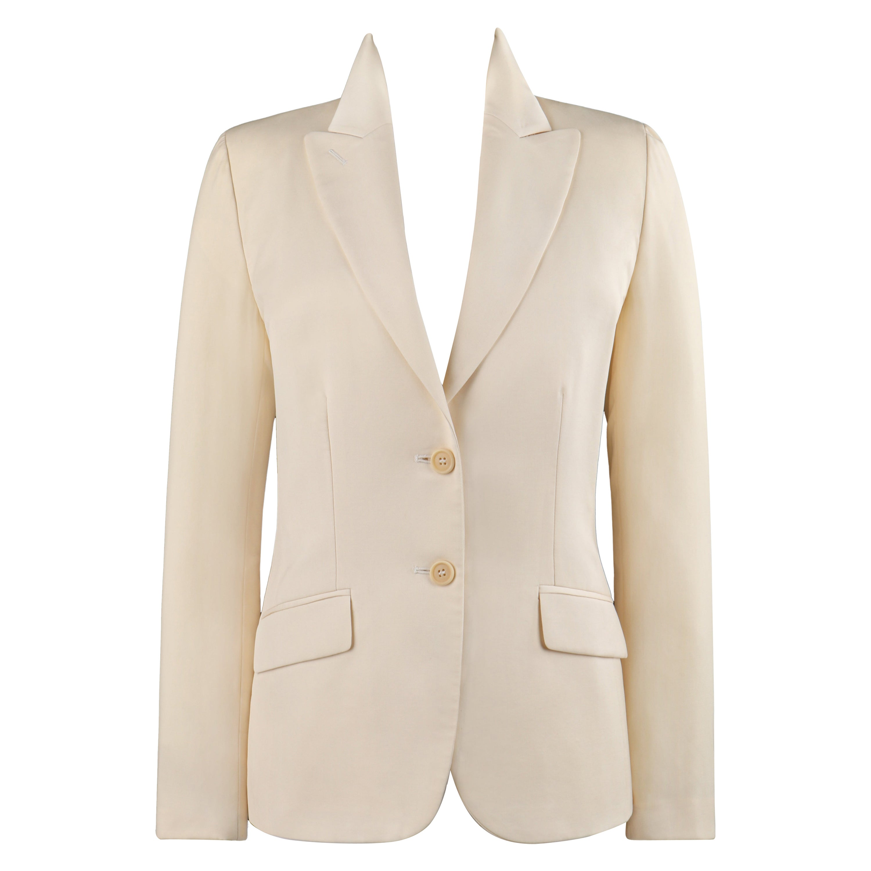 ALEXANDER McQUEEN S/S 1998 Ivory Button Front Notch Collar Slanted Pocket Blazer