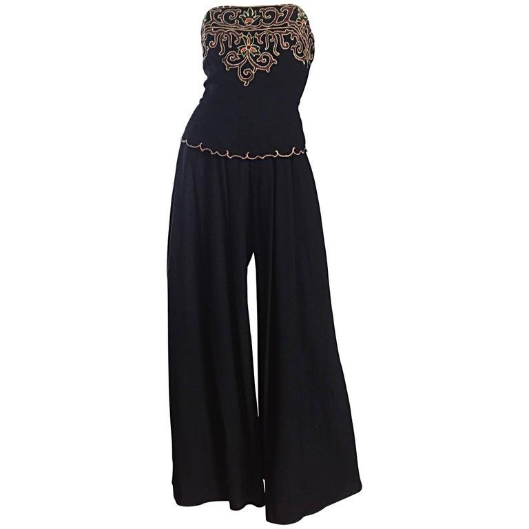 Exceptional Vintage Pierre Balmain Black Strapless Jumpsuit w/ Regal Embroidery  For Sale