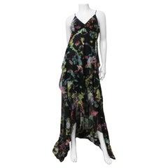 Etro New Flower Print Silk Backless Maxi Dress