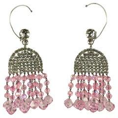 Mimi di Nardo Massive 1960's Crystal and Pink Aurora Earrings