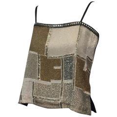 Amphiboles Leather and Beaded Camisole with Rhinestone Trim