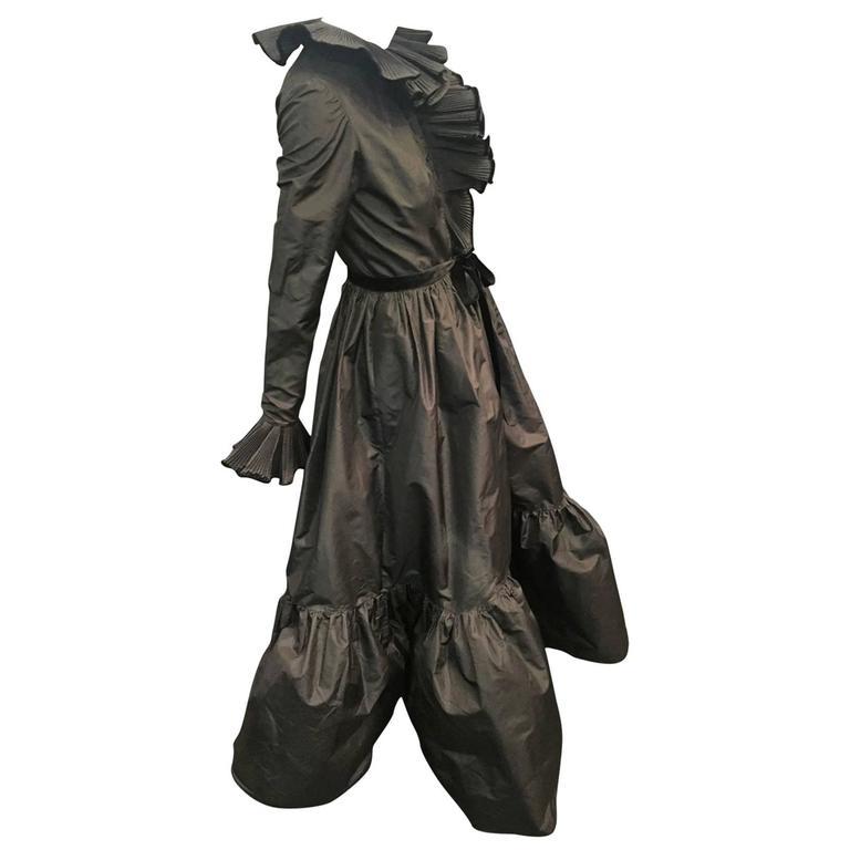 1970s Oscar de La Renta Black Taffeta Peasant-Inspired Evening Gown w/ Ruffles