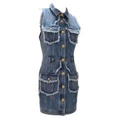BALMAIN Blue Denim Golden Buttons Pockets Dress