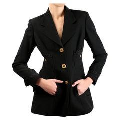 Louis Feraud vintage black gold button oversized braided blazer jacket