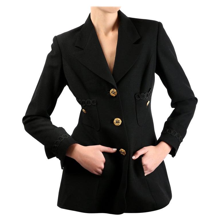 Louis Feraud vintage black gold button oversized braided blazer jacket For Sale