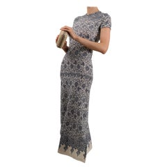 Jean Paul Gaultier blue white floral print stretch body con fitted midi dress