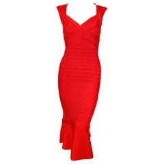 Herve Leger Bandage Dress with Flounce Hem New With Tags Size M