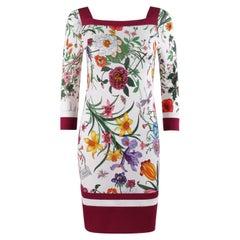 GUCCI Resort 2013 FRIDA GIANNINI Square Neck 3/4 Sleeve Floral Print Shift Dress