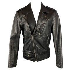 MARC JACOBS Size 40 Black Leather Biker Jacket