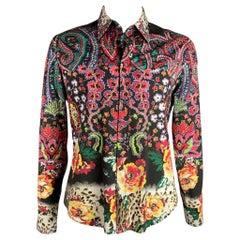 JUST CAVALLI Size XXL Multi-Color Print Cotton Blend Button Up Long Sleeve Shirt