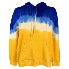 PRABAL GURUNG Size XL Blue & Yellow Tie Dye Cashmere Hooded Sweater