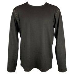 Y's by YOHJI YAMAMOTO Size L Black Contrast Stitch Wool Crew-Neck Pullover