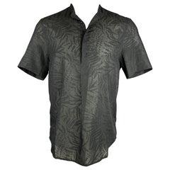 HUSSEIN CHALAYAN Size M Black Print Polyester / Cotton Nehru Collar Shirt