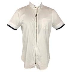 EMPORIO ARMANI Size M White Cotton Zip Up Short Sleeve Shirt