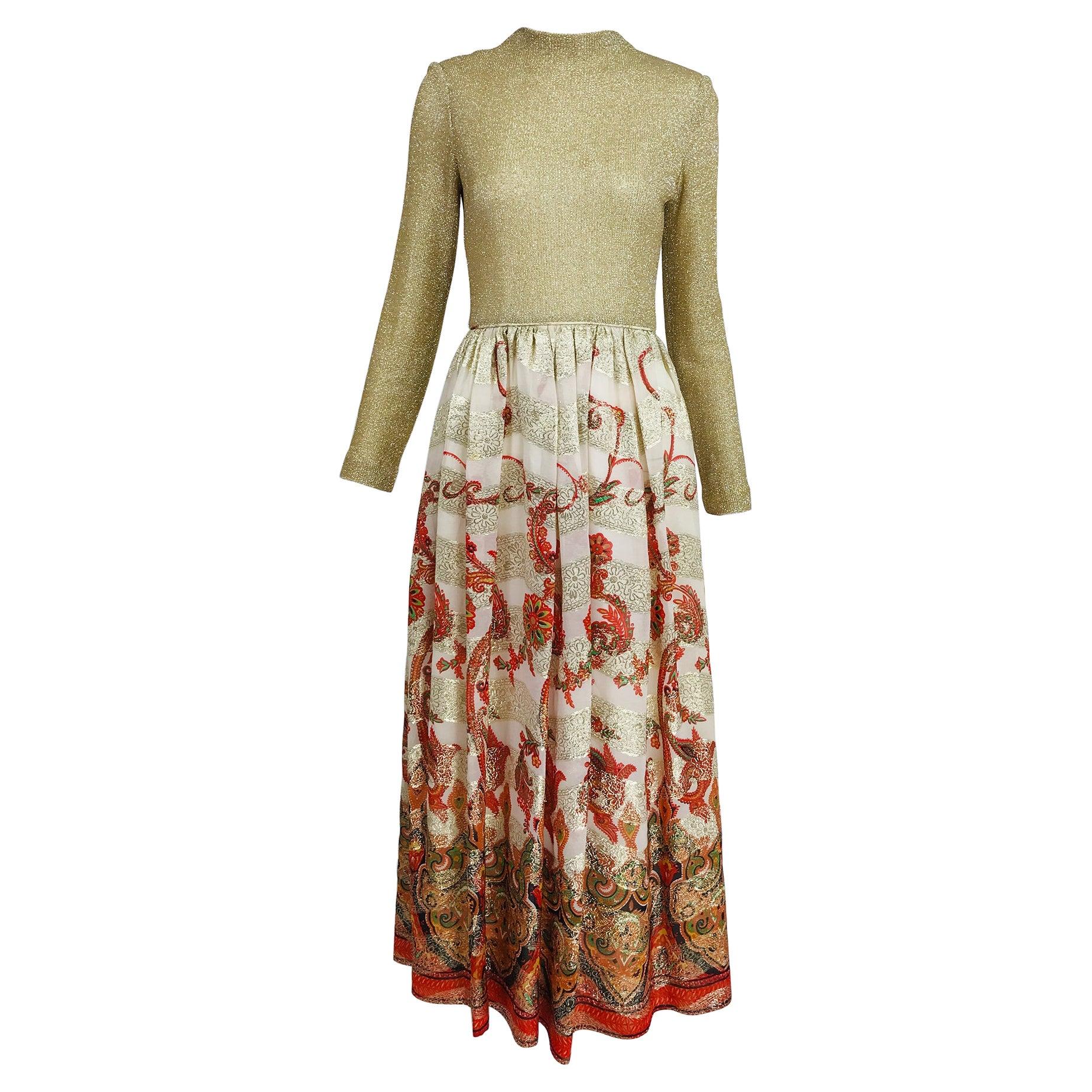 Vintage 1970s Saks Fifth Ave. Gold Metallic Coral Brocade Maxi Dress
