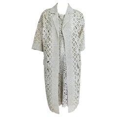 Creazioni Paoli Firenze Coat & Dress Set of Cream Crocheted Raffia 1950s
