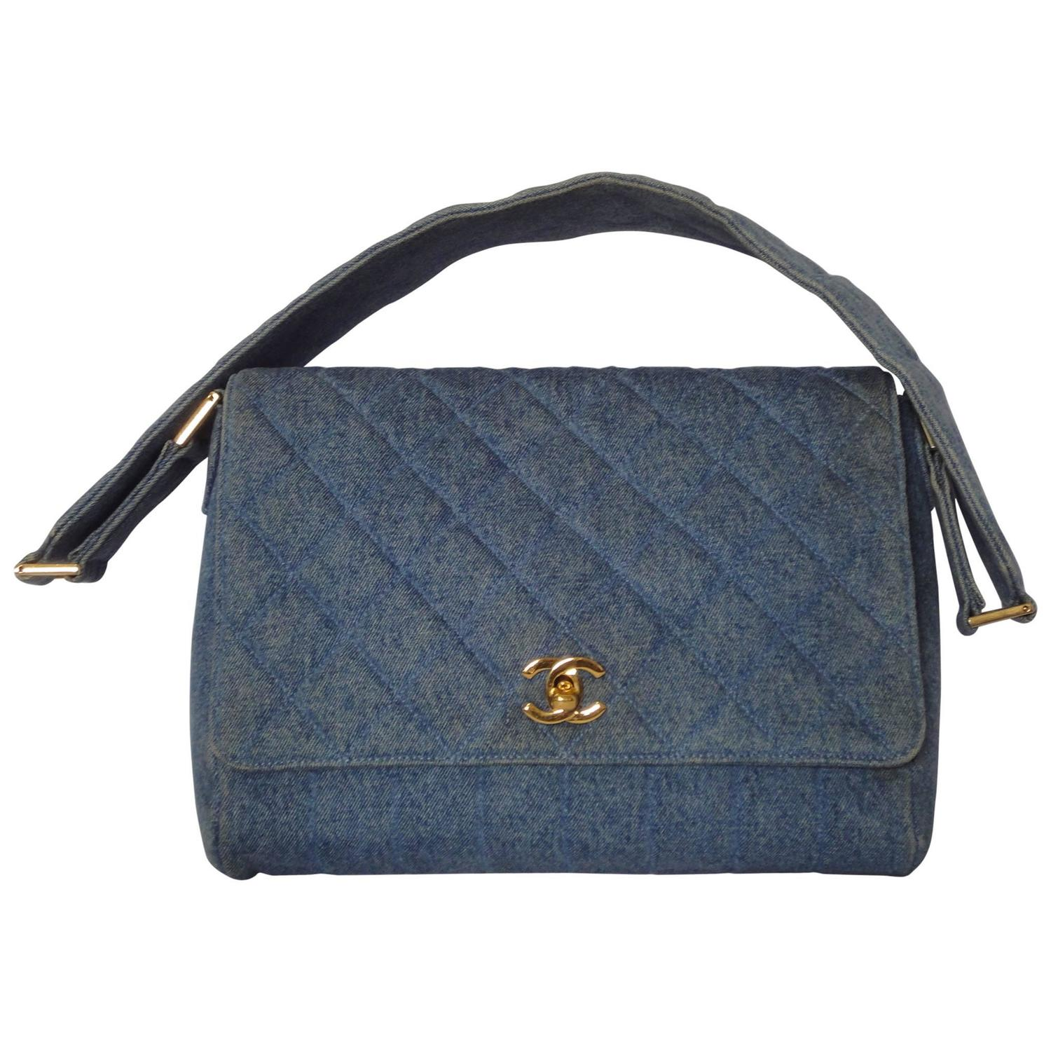 vintage chanel denim bag with golden cc closure and