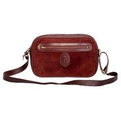 Cartier Vintage Must Bordeaux Suede Camera Bag