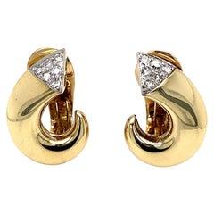 Diamond Open Circle Gold Clip-on Retro Earrings Estate Fine Jewelry