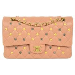 "Chanel 2018 RARE Blush Lucky Charm Studded 10"" Medium Classic Double Flap Bag"