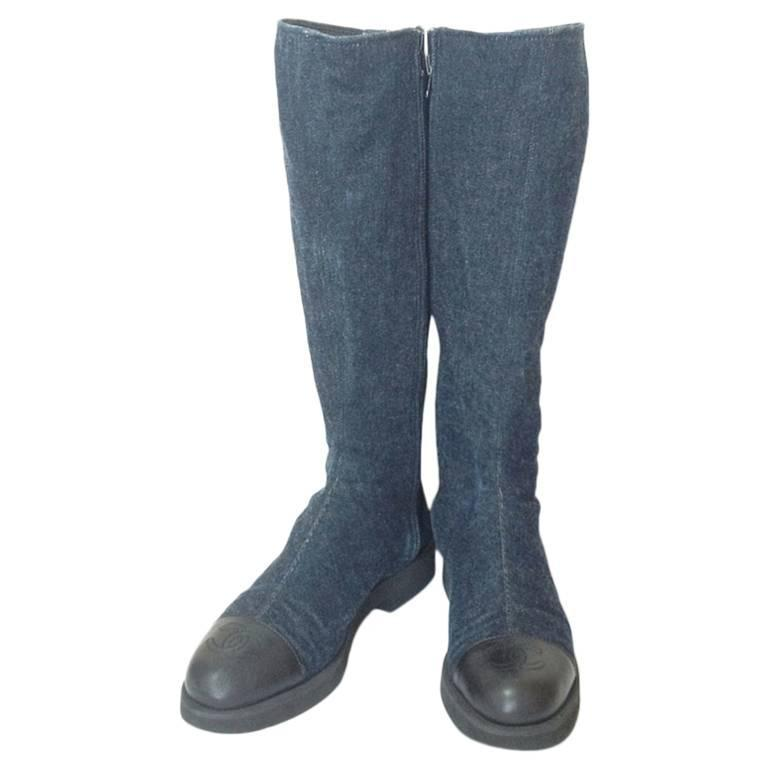 MINT. Vintage CHANEL mid high, black leather and denim combination long boots