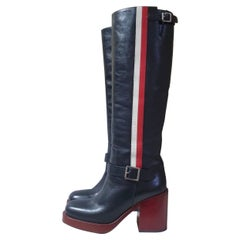 Dior Black Leather 'diorider' Tall Boots