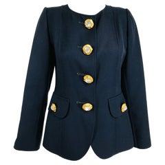 Oscar de la Renta Dark Navy Double Face Wool Twill Jacket with Amazing Buttons