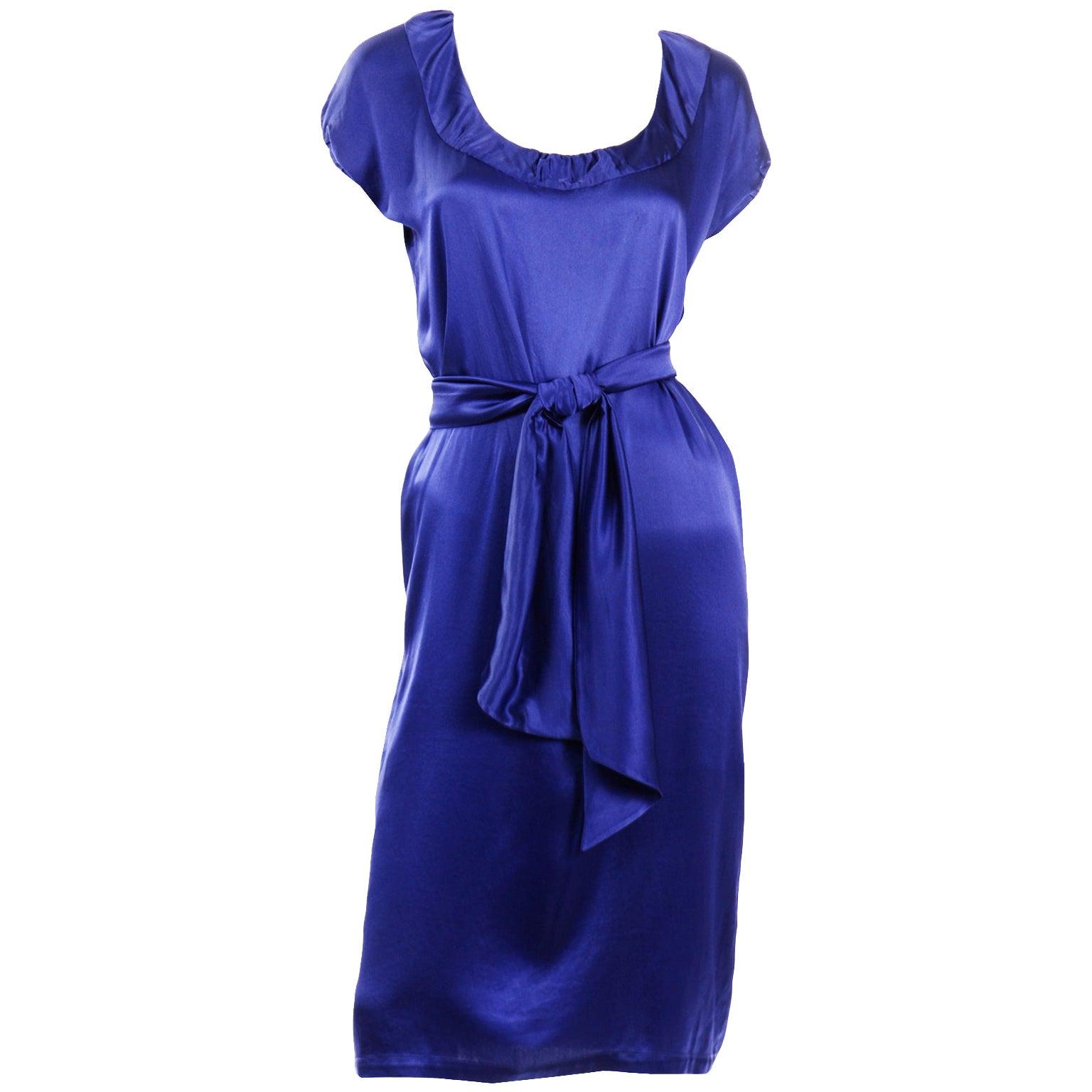 Yves Saint Laurent Blue Silk Charmeuse Evening Dress With Sash Belt