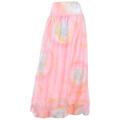 1970 Mary McFadden Vintage Silk Pink Pastel Watercolor Tye Dye Maxi Skirt