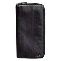 Prada Black Saffiano Zip Around Wallet
