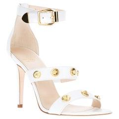 New Versace Signature Medusa Medallion Ankle-Strap White Leather Sandals 40 - 10