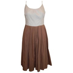 Vintage Brown and White Summer Cotton Dress
