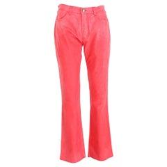 Mariella Burani Pink Cotton Waxed Flared Pants