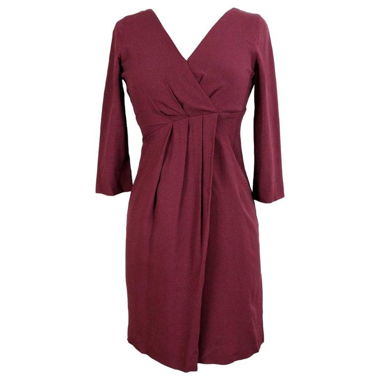 Max & Co Burgundy Viscose A Line Sheath Dress For Sale