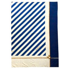 1980s Gucci Large Gucci Blue Stripe Naval Knots Wrap Pareo Sarong