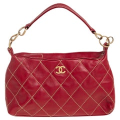 Chanel Red Quilted Leather Vintage Wild Stitch Bag